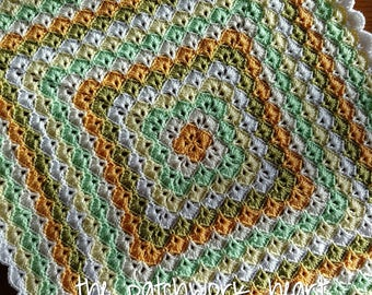 Hand made crochet baby blanket 60cm/23inches square