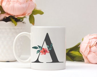 Monogram Mug   Letter Mug   Flower Mug   Mugs   Mugs For Office   Bridal