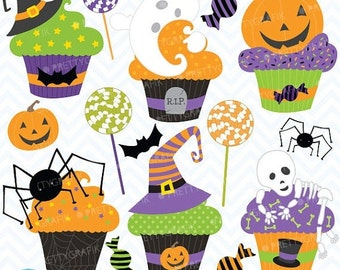 80% OFF SALE Halloween cupcake clipart commercial use, vector graphics, digital clip art, digital images - CL564