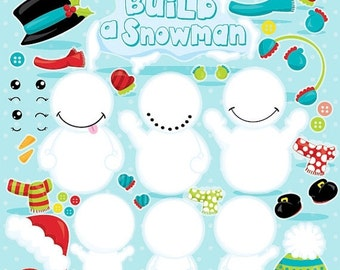 80% OFF SALE Snowman clipart commercial use, Kawaii snowman vector graphics, build a snowman digital clip art, digital images  - CL1040
