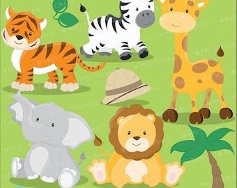 80% OFF SALE Safari Animals clipart commercial use, Jungle animals vector graphics, digital clip art, digital images - CL616