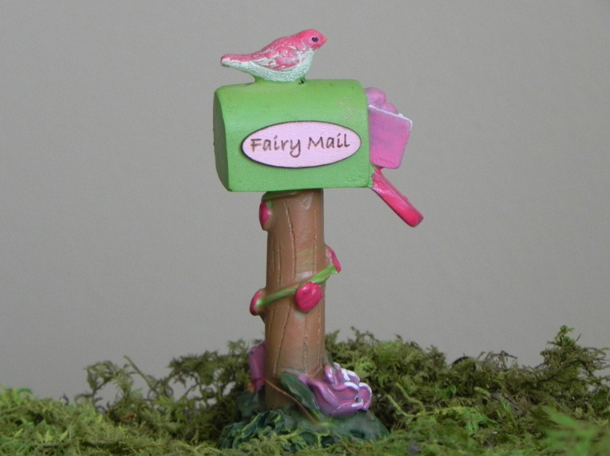 Fairy garden mailbox miniature mail box handmade fairy mail for Little fairy mailbox