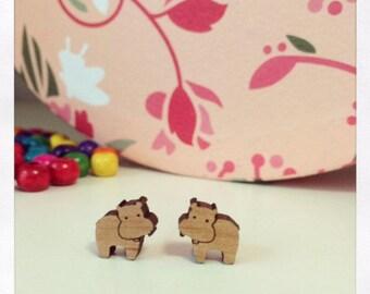 Laser Cut Wooden Hippo Earrings