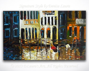 Venice Canal Gondola Painting Contemporary Art ORIGINAL Cityscape Art Venice Italy Palette Knife Oil Painting 20x12 Canvas by Denisa Laura