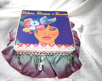 "GIFT Jewelry Trinket Keepsake Box-'Believe"" Blossom Ribbon Embellished Treasure or Prayer Box"