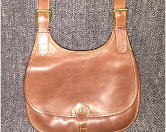 Vintage Ralph Lauren Pebbled Leather Crossbody Messenger Bag