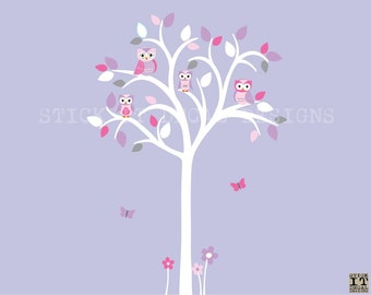 Girl Room Owl tree decal, White Tree Wall Decal, Owl tree wall sticker, Nursery Wall Decal, Plumberry Design / White Tree