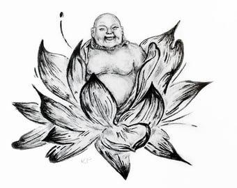 Framed Buddha in Lotus Print