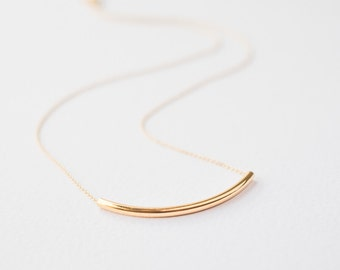 Gold Tube Necklace, Geometric necklace, Gift for her