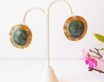 Green Earrings, Berebi Earrings, Vintage Earrings, Costume Jewelry, Pierced Earrings, Green and Gold