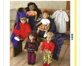"Learn To Sew, Doll Clothes for 18"" dolls, Kwik Sew 3091, New Uncut, Kwik Start Sewing Pattern, Doll Outfits"