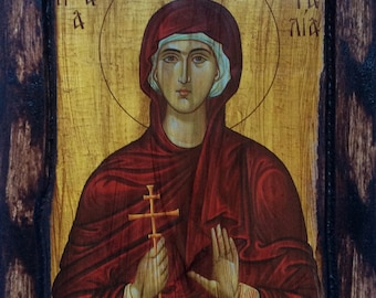 Saint St. Natalia - Orthodox Byzantine icon on wood handmade (22.5 cm x 17cm)