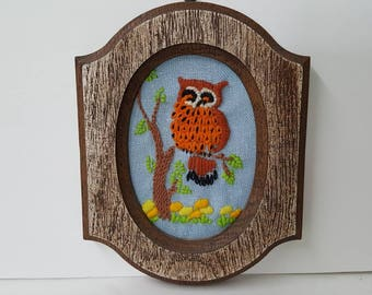 Crewel Needlepoint Owl on Branch with Little Flowers Framed in Wood Look Frame