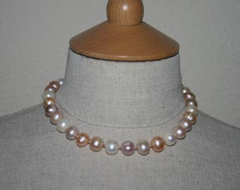 NATURAL PEARL CHOKER Necklace....Mixed Colour Fresh Water Pearls....Wedding...Prom