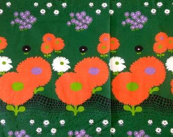 Flower Power Fabric Bright Orange Flowers 5 Yards Polyester Indoor Outdoor Fabric