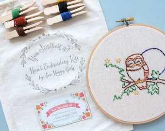 DIY Kit. DIY Embroidery Kit. Embroidery Kit. Owl. Embroidery Gifts. Hand Embroidery. Embroidery. Gifts for Her.
