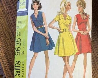 Vintage McCalls pattern, vintage pattern, McCalls 9635, vintage front wrapped dress, vintage sewing, vintage McCalls, Mod pattern, sewing