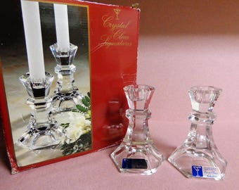 Crystal Clear Signatures Vintage Candlesticks Vienna Candle Holders 24% lead crystal come in Box