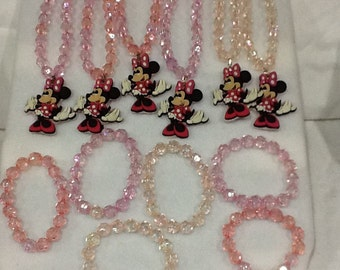 Glassbead Necklaces with Character Charms Set of 6 and Bracelets