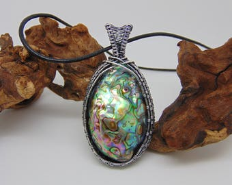 Abalone Pendant  -  Wire Wrapped Jewellery Handmade - Statement Jewellery -  Paua Shell Pendant - Wire Wrapped Pendant