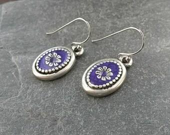 Purple Enamel Earrings/Purple Earrings/Silver Flowers/Flower/Daisies/Florals/Petals/Daisy Jewellery/Purple Flowers/Daisy/