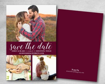 Save the date- DIY or printed, burgundy, maroon, custom Engagement announcement wedding invitation photo card card invite bridal shower