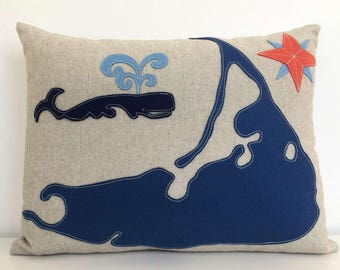 Nantucket Map & Spouting Whale Pillow With Blues and Coral Felt Applique on Oatmeal Linen