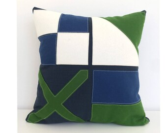 Nautical Flag LOVE Pillow in navy blue, green and white