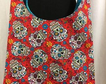 Day of the dead hobo bag, skull cloth bag, tote bag