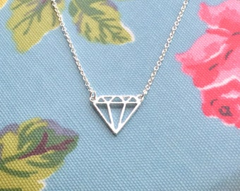 Geometric diamond shaped necklace, silver plated