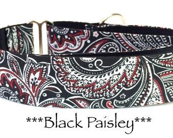 Martingale Dog Collar, Paisley Dog Collar, Black and Red Dog Collar, Paisley Martingale Dog Collar, Martingale Collar, Black Paisley