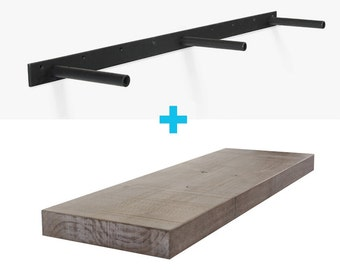 Hatch Gray, Cut-to-Length Solid Hardwood Floating Shelves (bandsaw textured premium finish + patented HD bracket system = ready to hang kit)
