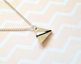 Paper Plane Necklace, Origami Necklace, paper plane jewellery jewelry, travel necklace, travel jewelry,travel gift airplane necklace pendant