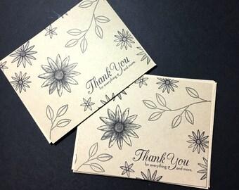 Flat Note Card Set - Black Ink on Kraft Cardstock - Thank You Stationery - Customer Appreciation