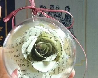 Paper book rose Emma Jane Austen quote bauble