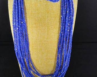 Multi strands bicone beads jewelry set, long necklace, bracelet, earrings