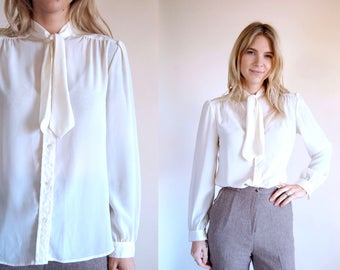 Vintage Blouse with Bow Cream