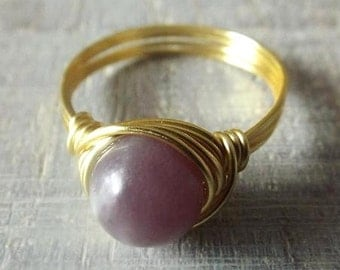 Chinese Tourmaline Ring - Purple Stone Ring - Gold Tourmaline Ring - Mauve Ring -  Wire Wrapped Ring - Gift for Her - Tourmaline Jewelry
