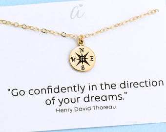 Go Confidently in the Direction of Your Dreams . Personalize Compass Necklace . College Graduation Gift . 14k Gold Filled or Sterling Silver
