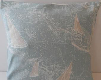 Coastal pillow cover 16 x 16, nautical, sail boat, ocean, beach, home decor