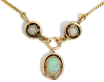 Australian Opal Necklace 14K Gold Pendant Unique