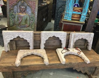 Antique Stone Arch Frame, hAVELI Floral Hand Carved, Decorative Wall hanging Frame, eclectic, vintage artifact, 6pcs available