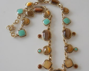 Turquoise  and Tigers Eye Faux Necklace 15''
