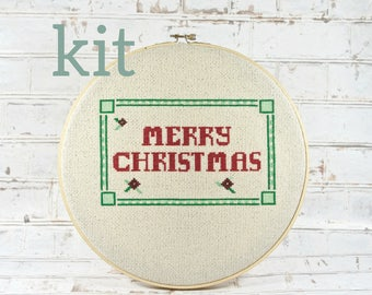 Complete kit christmas tree cross stitch diy craft kit holiday complete kit merry christmas banner holiday greetings do it yourself craft kit embroidery kit diy holiday decor december word art solutioingenieria Choice Image