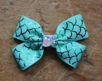 mermaid scale ribbon charm bow hair clips