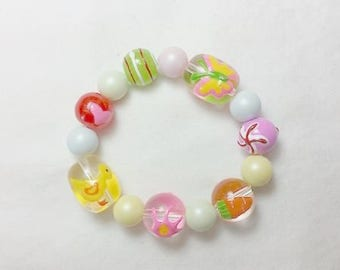 Easter Pastel and Glass Bead Bracelet