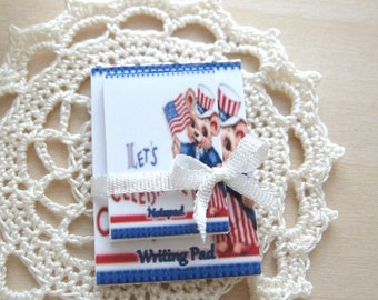 dollhouse writing pad and notepad 4th july patriotic 12th scale miniature