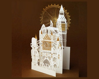 London city laser cut greeting card luxury greeting card top quality
