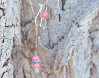 Argentium Silver Lariat Necklace - includes gift box - both are ooak