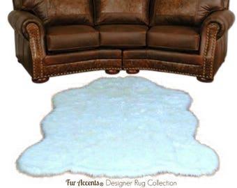 Plush Faux Fur Area Rug - Chubby Bear Skin -  Sheepskin - Animal Pelt Shape Designer Throw - 6 Colors -Art Rug by Fur Accents - USA